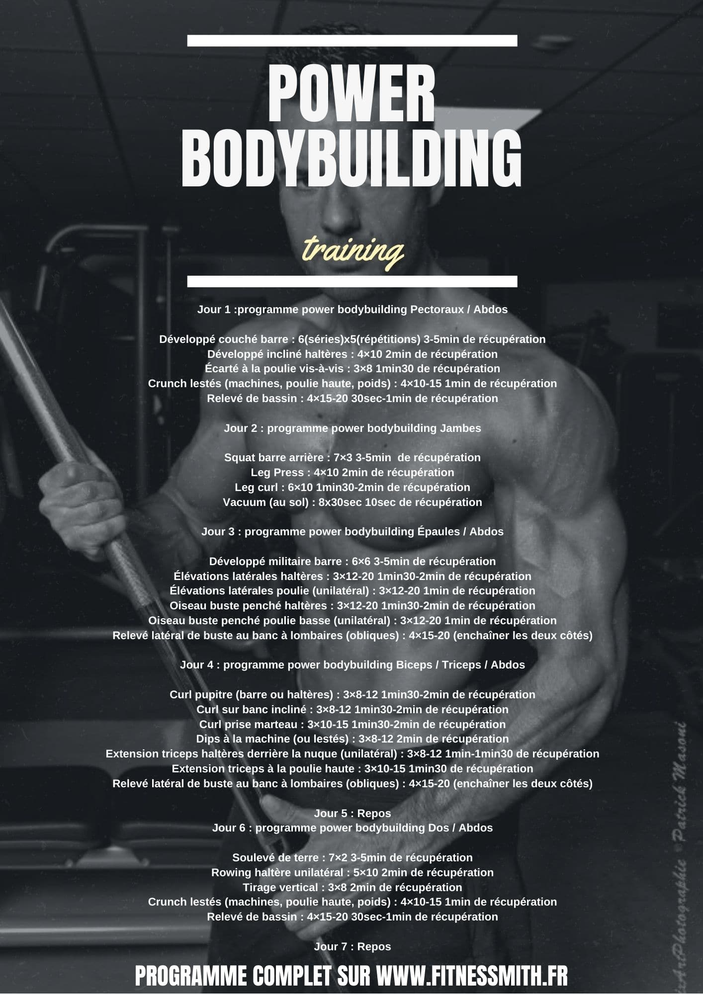 programme power bodybuilding training